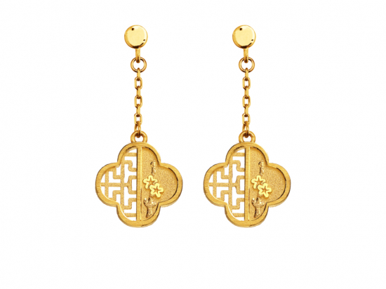 Citigems 999 Pure Gold Oriental Bloom Clover Earrings