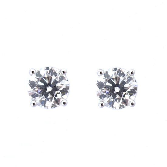 Citigems 18K White Gold 1.11CT Solitaire Earrings