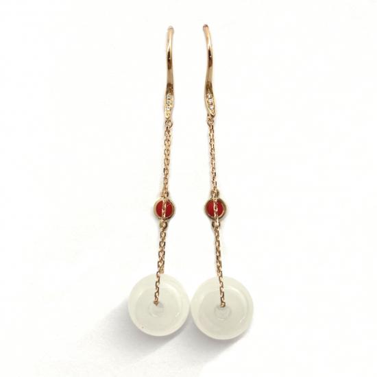 Citigems 18K Rose Gold Nephrite Diamond Earrings