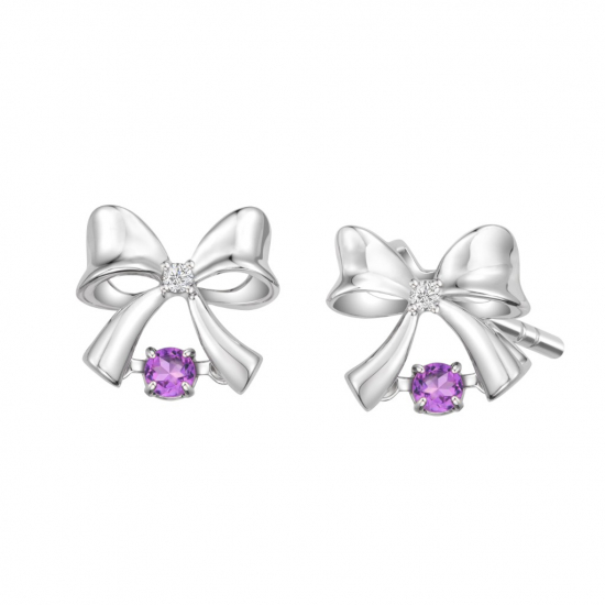 Citigems 10K White Gold Dancing Ribbon Benetto Earrings