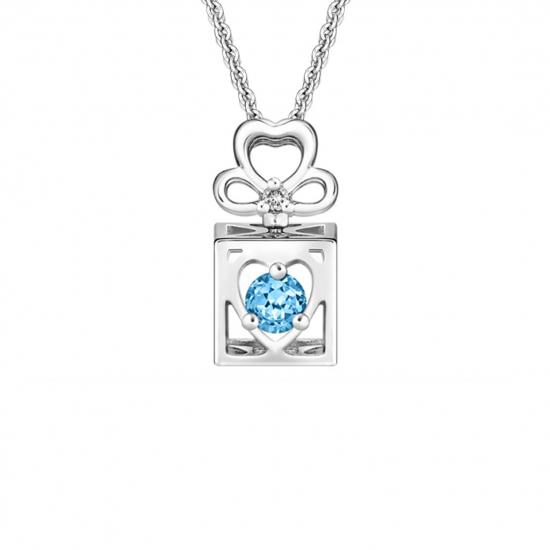 Citigems White Gold Spinning L.O.V.E. Topaz Diamond Pendant