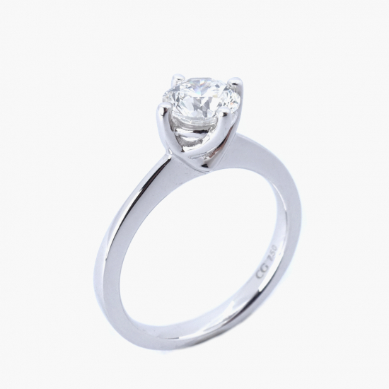 Citigems 18K White Gold 0.90CT Solitaire Ring