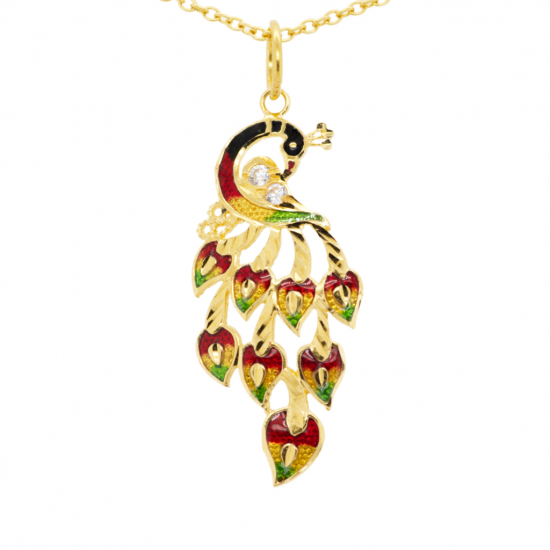 Citigems 916 Gold Peacock With Coloured Stone Pendant