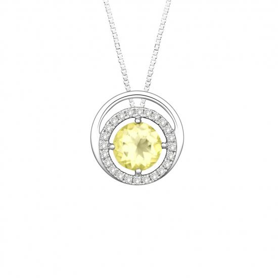 Citigems 14K White Gold Citrine Benetto Diamond Pendant