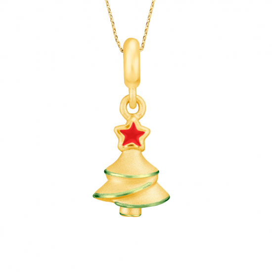 Citigems 999 Gold Light Up Christmas Tree Pendant