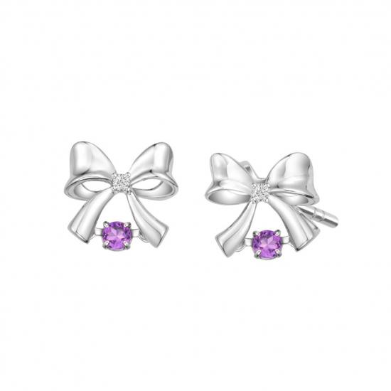 Citigems 10K White Gold Dancing Ribbon Benetto Earrings