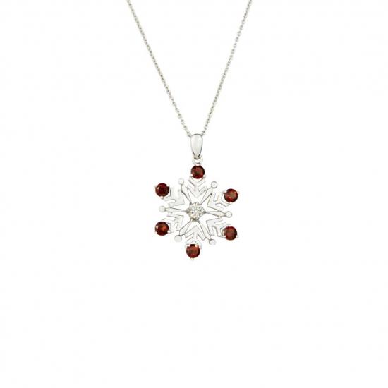 Citigems White Gold Garnet Diamond Pendant