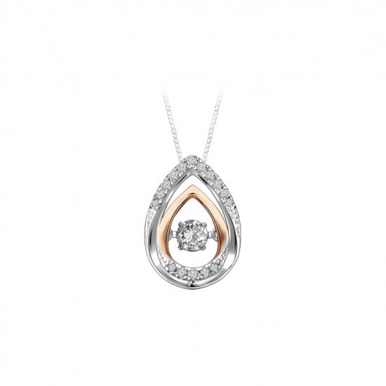 Citigems 10K Rose Gold White Gold Tango Dancing Diamond Pendant