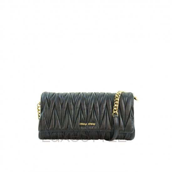 Miu Miu Matelasse Leather Black Clutch Sling Bag (Pristine)