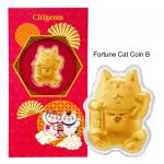 Citigems 999 Pure Gold 0.2g Fortune Cat Golden Treasure