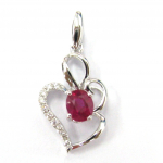 Citigems 10K White Gold Ruby Diamond Pendant 47188