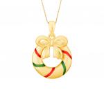 Citigems 999 Gold Christmas Wreath Pendant