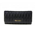 Miu Miu Continental Matelasse Leather Black Wallet with Cardholder
