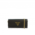 Prada Saffiano Leather Black Wallet On Chain