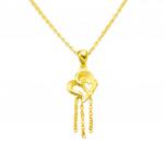 Citigems 999 Pure Gold Double Heart Dangling Pendant