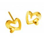 Citigems 999 Pure Gold Textured Heart Earrings