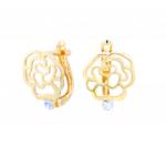 Citigems 916 Gold Rose Earrings