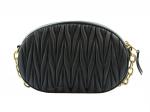 Miu Miu Matelasse Leather Black Oval Sling Bag