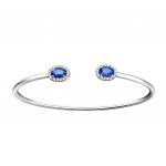 Citigems White Gold Sapphire Diamond Bangle