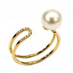 Citigems 18K Yellow Gold Pearl Diamond Ring