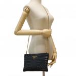 Prada Diagramme Black Leather Clutch Bag