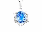 Citigems 14k White Gold Blue Topaz  Benetto Diamond Pendant