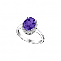 Citigems 14K White Gold Amethyst Benetto Ring