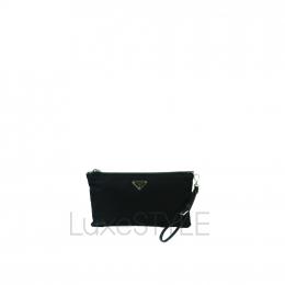 Prada Logo Nylon Black Clutch