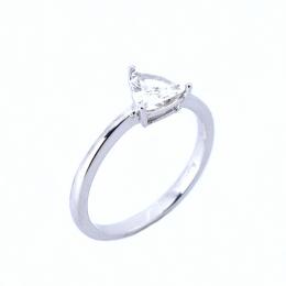 Citigems 18K White Gold Triangular-Shaped Diamond Ring