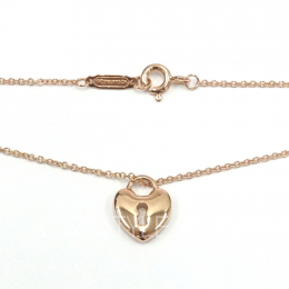Pre-Loved Tiffany & Co. Heart Lock Keyhole 18k Rose Gold Necklace