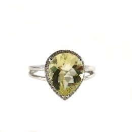 Citigems 10K White Gold Lemon Quartz Benetto Ring