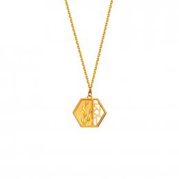 Citigems 999 Pure Gold Oriental Bloom Hexagon Pendant