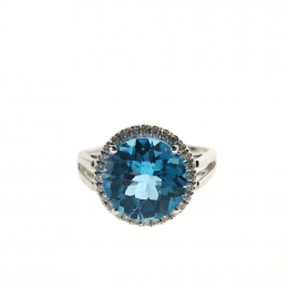 Citigems 14K White Gold Blue Topaz Benetto Ring