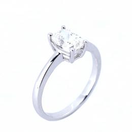 Citigems 18K White Gold Rectangular-Shaped Diamond Ring