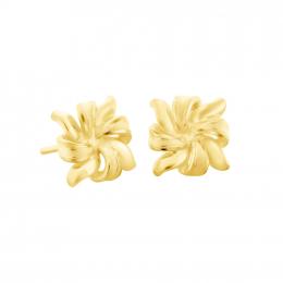 Citigems 999 Pure Gold Flower Ribbon Earrings