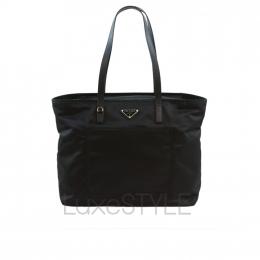 Prada Logo Plaque Black Nylon Tote Bag