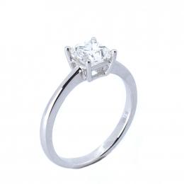 Citigems 18K White Gold Square-Shaped Diamond Ring