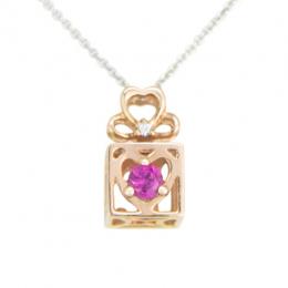Citigems 10K Spinning L.O.V.E. Rose Gold Ruby Diamond Gift Box Pendant