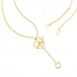Citigems 916 Gold Cupid's Love Arrow Heart Necklace