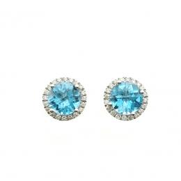 Citigems 14K White Gold Blue Topaz Benetto Earrings
