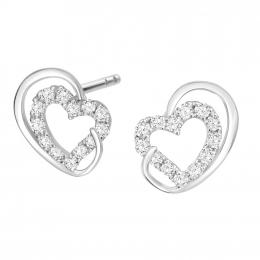 Citigems 10K White Gold Encircled Heart 26-Diamonds Earrings