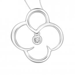 Citigems 10K White Gold Clover Diamond Pendant