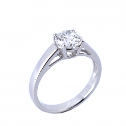 Citigems 18K White Gold 1.01CT Solitaire Ring