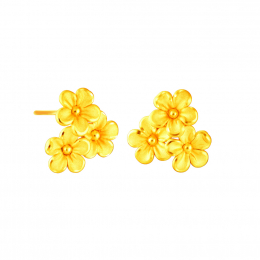 Citigems 999 Pure Gold Daisy Flower Earrings