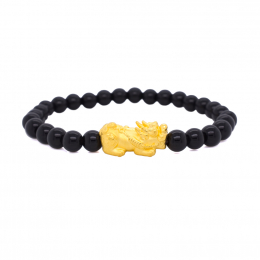 Citigems 999 Pure Gold Pixiu Bracelet with Beads (approx 0.8g)