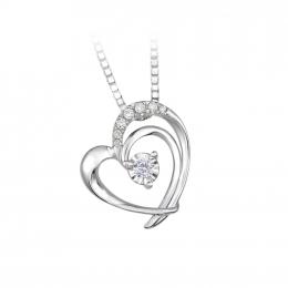 Citigems 10K White Gold Double Heart Diamond Pendant