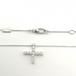 Pre-Loved Gucci Cross 18K White Gold Diamond Necklace