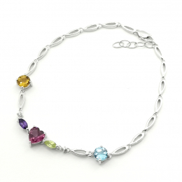 Citigems 10K White Gold Multi Gems Benetto Bracelet 75940