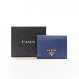 Prada Saffiano Leather Blue Bifold Wallet (Unused)
