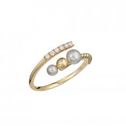 Citigems Yellow Gold Pearl Diamond Ring